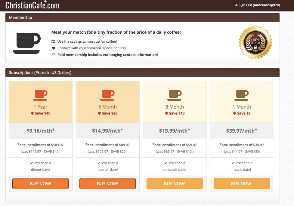 christian cafe prices